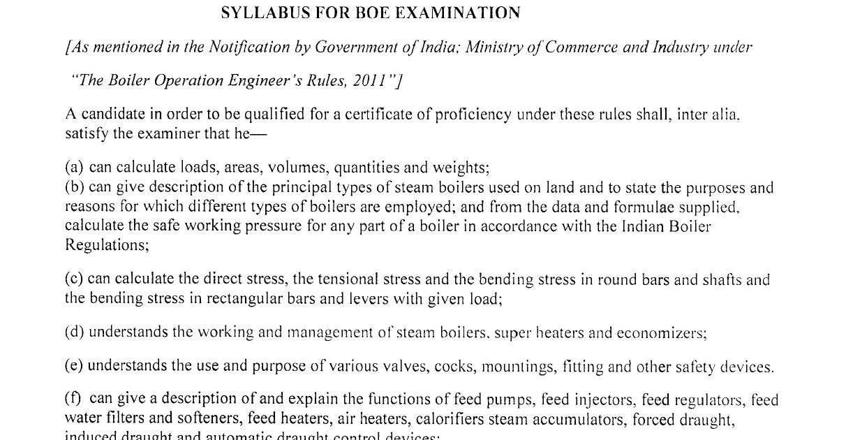 BOE (Boiler Operation Engineer) SYLLABUS 2017 - ASKPOWERPLANT