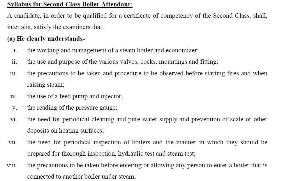 BOILER FIRST CLASS EXAMINATION SYLLABUS FOR ALL STATES BOARD